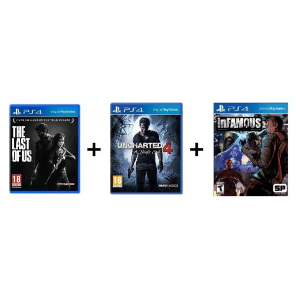 PS4 Triple Game Pack (The Last Of Us + Uncharted 4 + Infamous)