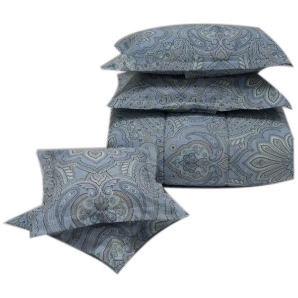 AIWA AI-584-7/144TC Double Comforter Set 160x240cm Polycotton Print Blue