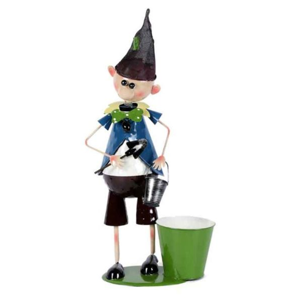 Moorni ELM19-021-015 Elf Boy Metal Planter Pot
