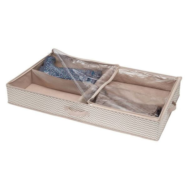 InterDesign Axis Non-Woven Fabric Under Bed Boot Storage Organizer – 4 Compartments, Taupe/Natural ID05331ES