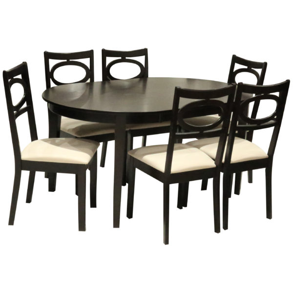 HomeStyle SH53176 Aniq 6 Seater Oval Shape Dining Set Brown