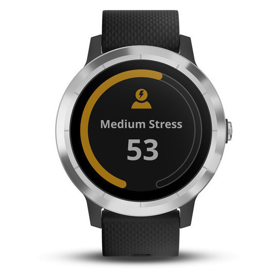 Garmin Vivoactive 3 Stainless Steel Smart Watch Black With GPS Black Silicone Strap