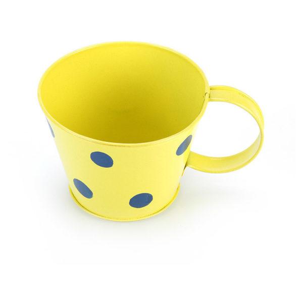 Moorni ELM19-021-041 Yellow Polka Dot Cup Shape Planter Pot