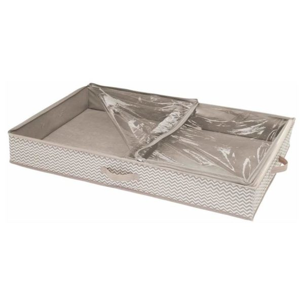 InterDesign Axis Non-Woven Fabric Under Bed Storage Box Organizer – 2 Compartments, Taupe/Natural ID05341ES