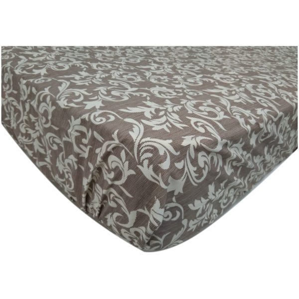 AIWA AI-682-3/144TC Double Fitted Sheet Set Poly Cotton Print Brown
