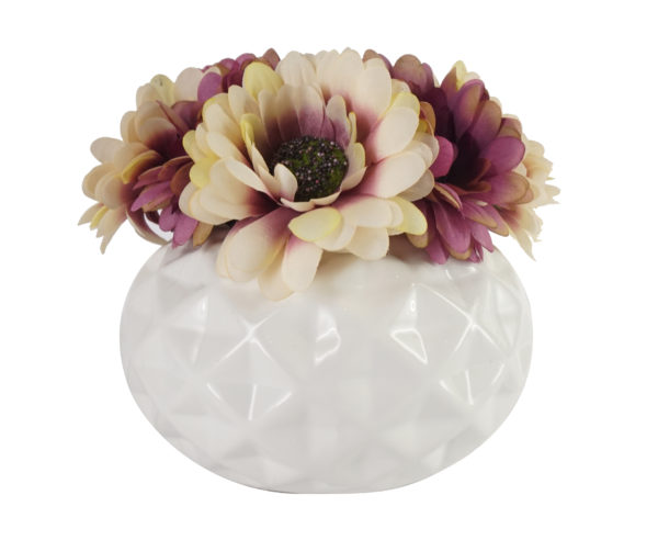 Rosso SDROSS22 Daisey Purple Flower with White Vase