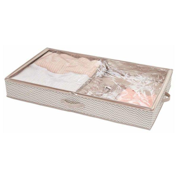 InterDesign Aldo Non-Woven Fabric Under Bed Boot Storage Organizer - 4 Compartments – Linen ID05332ES