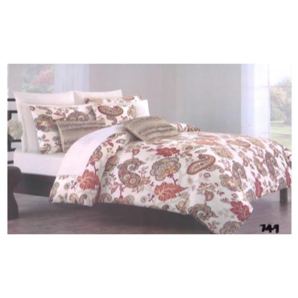 AIWA AI-749-9/144TC King Comforter Set 240x260cm Polycotton Print Brown