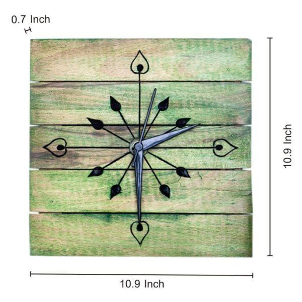 Moorni Wooden Engraved Wall Clock in Green EL-001-031