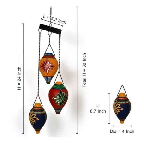 Moorni EL008055 Hanging Tea Light Set Of 3