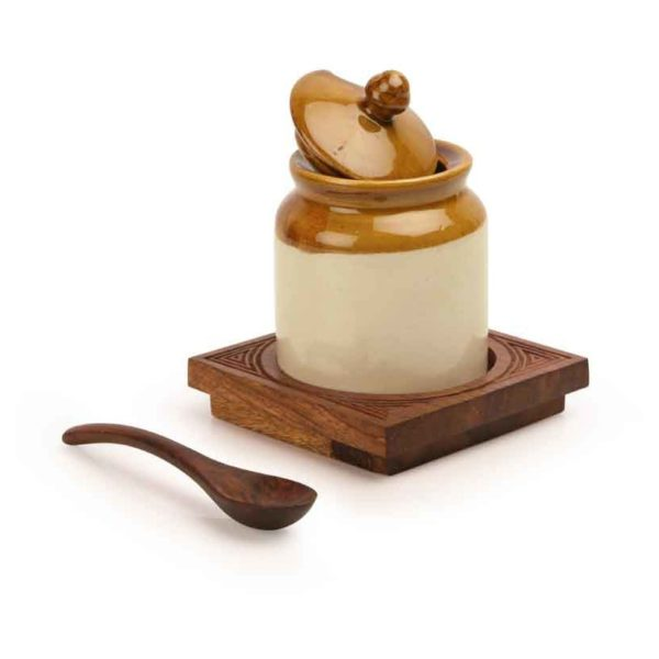 Moorni Old Fashioned Ceramic Jar with Hand Carved Tray