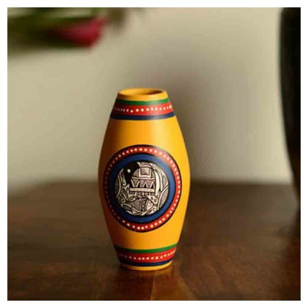 Moorni Terracotta Handpainted Madhubani Vase Dholak Yellow 6 Inch