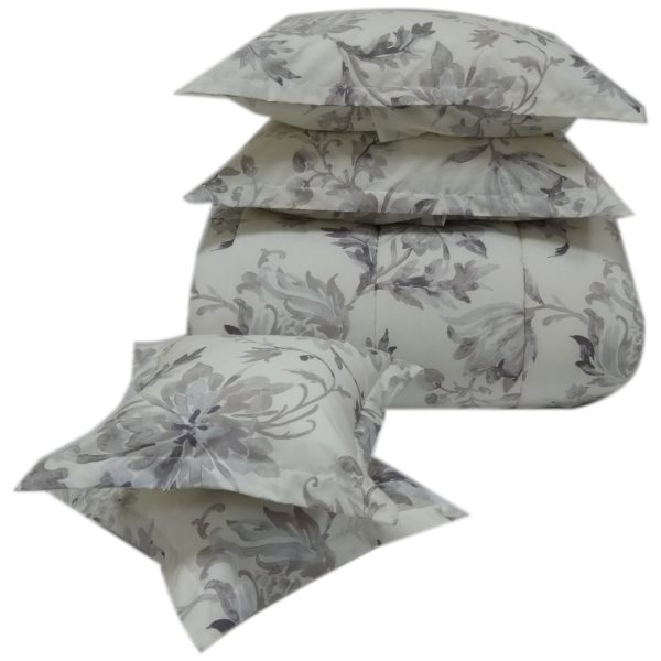 AIWA AI-809-5/180TC Double Comforter Set 220x240cm Poly Cotton Print Brown