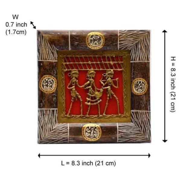 Moorni Dhokra Work and Warli Hanpainted Wall Decor in Sheesham Set EL-002-012