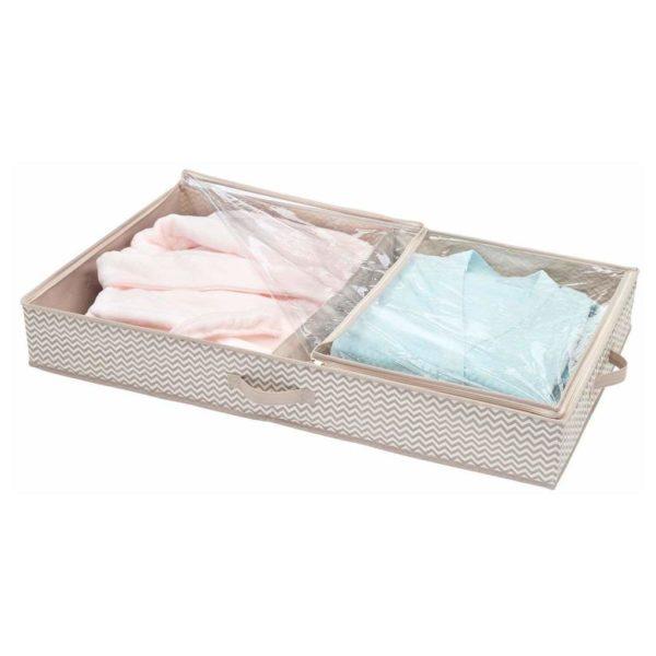 InterDesign Aldo Non-Woven Fabric Under Bed Storage Box Organizer, 2 Compartments – Linen ID05342ES