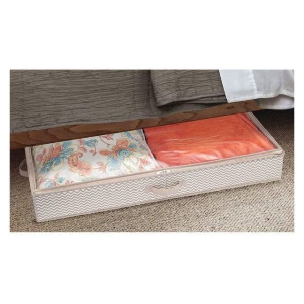 InterDesign Aldo Non-Woven Fabric Under Bed Storage Box Organizer, Linen ID05352ES