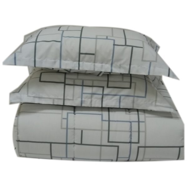 AIWA AI-807-10/180TC Double Comforter Set 220x240cm Poly Cotton Print White/Blue