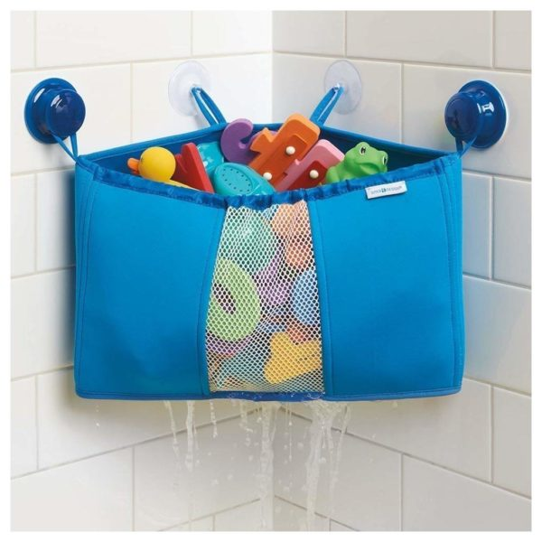 InterDesign Kids Neoprene Corner Bathroom Shower Caddy Basket, Baby Bath Toy Organizer - Blue ID09520ES
