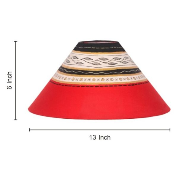 Moorni 20inch Dhokra and Warli Handpainted Wooden Lamp Brown EL-003-038