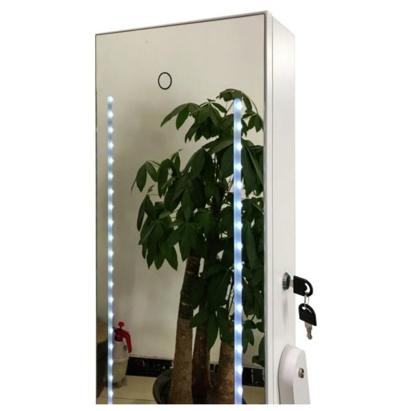 CLASS Jewellery Mirror Cabinet with LED Lights & Cupboard Inside, White CL6563WT
