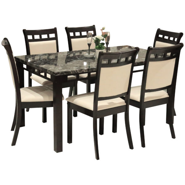 HomeStyle SH53177 Marmi 6 Seater Dining Set Brown