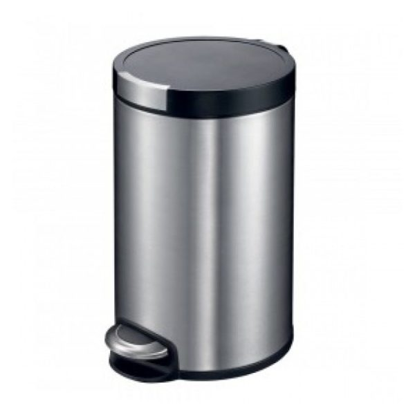 EKO Artistic Stainless Steel Round Step Waste Bin with Soft Close Lid, 12-Litres