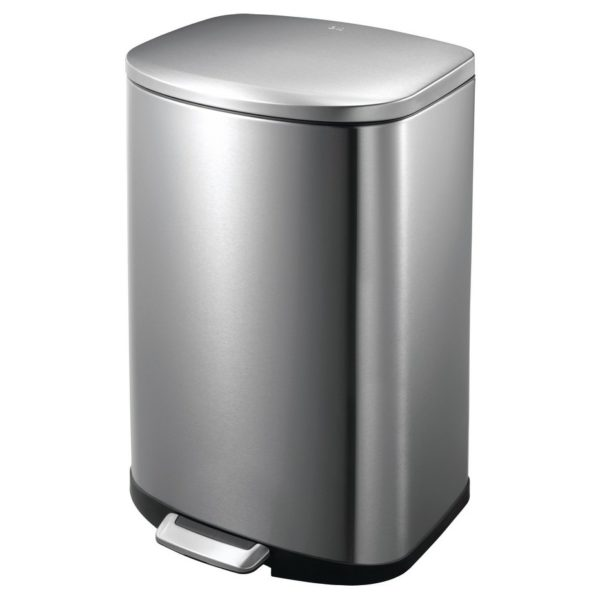 EKO Della Stainless Steel Rectangular Step Waste Bin with Soft Close Lid, 50-Litres