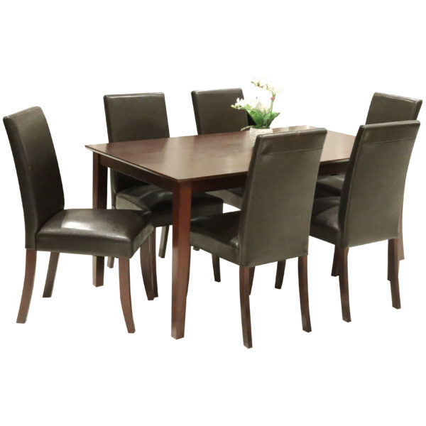 HomeStyle SH47488 Kristen Dining Set with 6 Chairs Brown