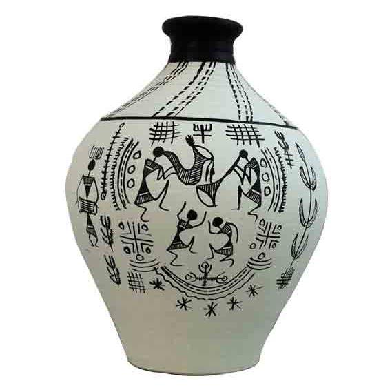 Moorni Terracotta Handpainted Warli Vase Matki Neck White 6 Inch