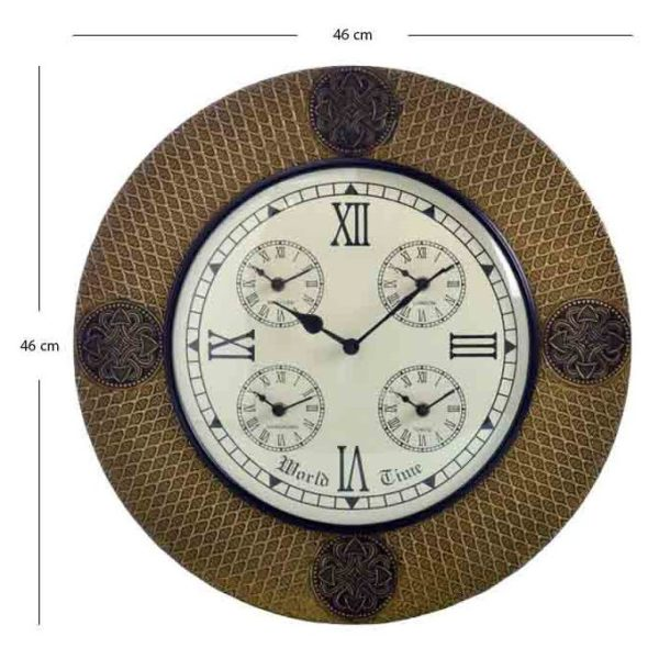 Moorni GH18BIG Traditional Rajasthani Brass Design Wall Clock (46cm)