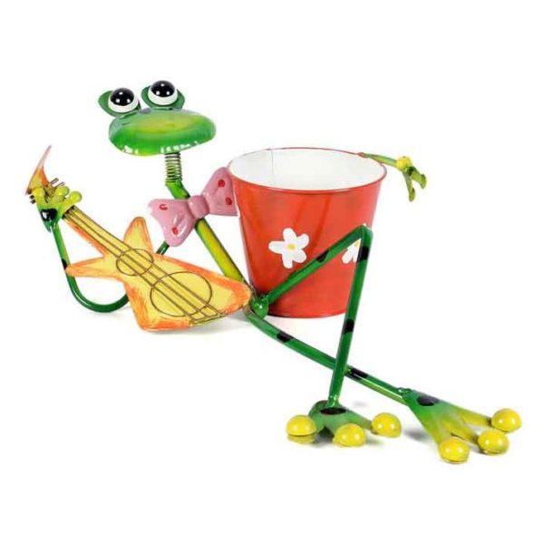 Moorni ELM19-021-012 Frog Lying Playing Guitar Metal Planter Pot