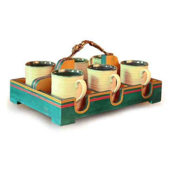 Ocean Blue Handpainted Ceramic Cup Set & Holder With Dhokra Art