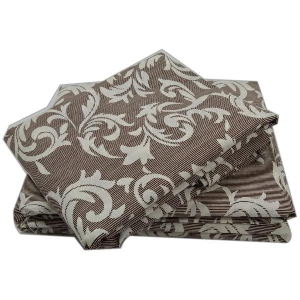 AIWA AI-682-8/144TC King Flat Sheet Set Poly Cotton Print Brown