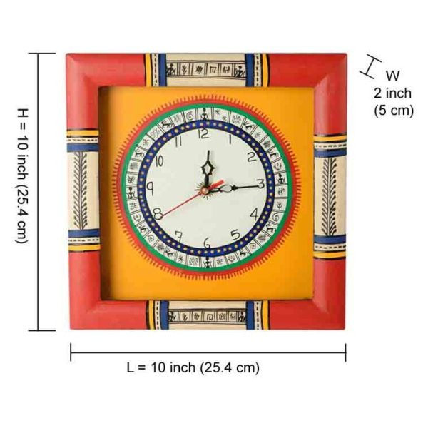 Moorni Warli Hand painted Clock 10x10inch Yellow EL-001-004