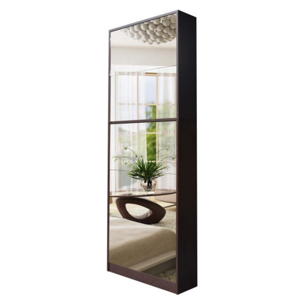 CLASS Shoe Cabinet with Full Length Mirror Walnut ASTV4112