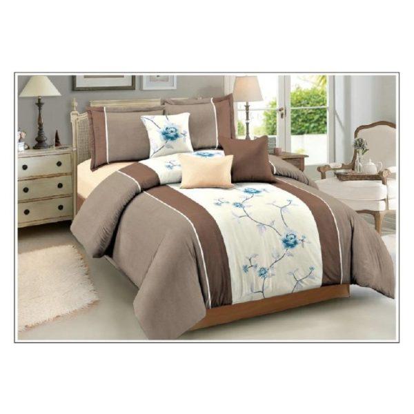 AIWA AI-760-1/M.FIBER Qween Comforter Set 160x220cm Poly Cotton Print Brown