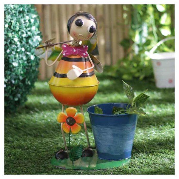 Moorni ELM19-021-006 Bumble Bee Metal Planter Pot