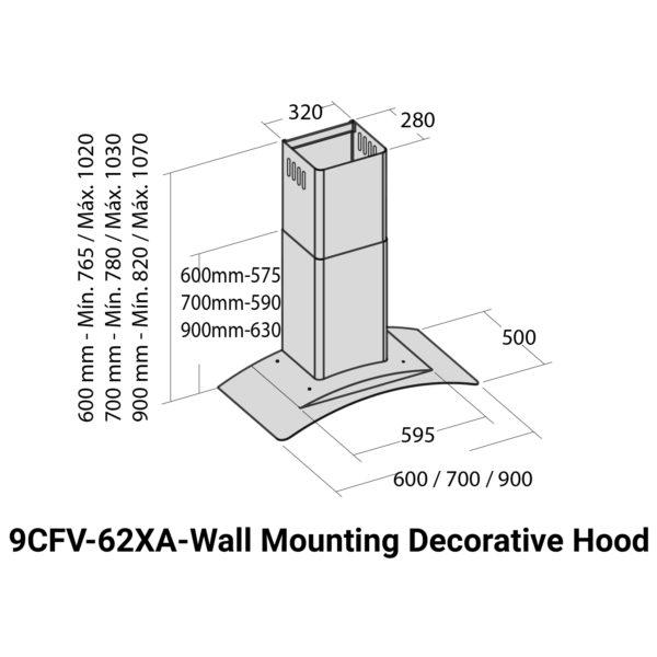 Fagor Built In Wall Mounting Hood 9CFV62XA