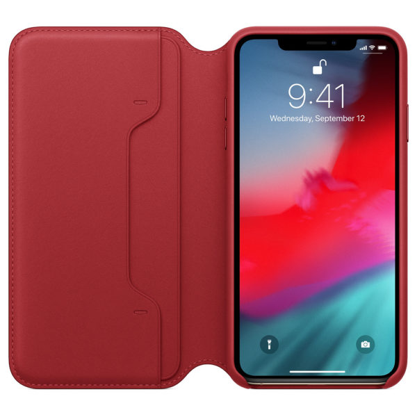Apple Leather Folio Case Product Red For iPhone XS