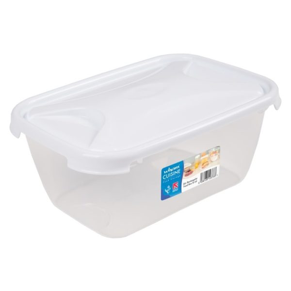 Wham 12373 Cuisine Rect Food Box & Lid Clear/Ice White 2L