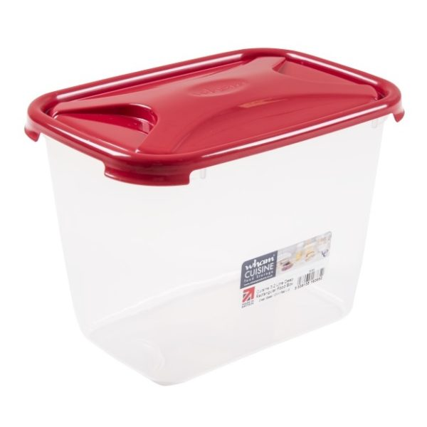 Wham 16385 Cuisine Deep Rect Food Box & Lid Clear/Chili Red 3.2L