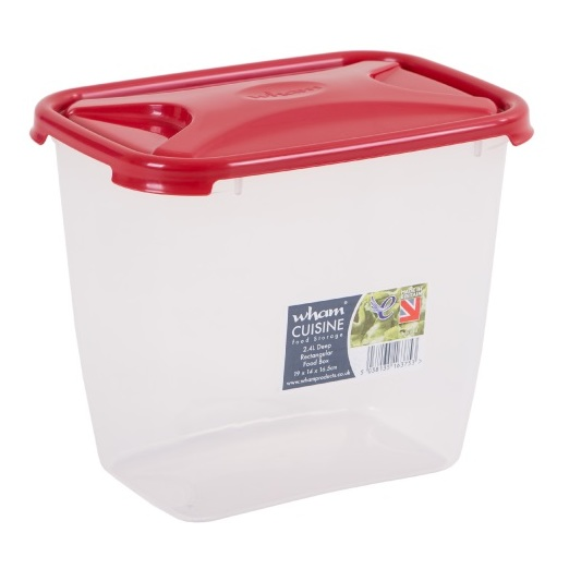 Wham 16375 Cuisine Deep Rect Food Box & Lid Clear/Chili Red 2.4L