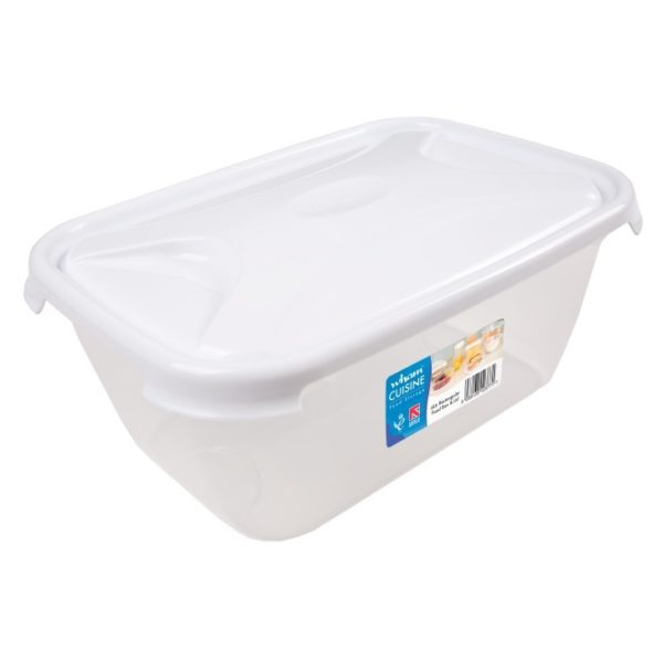 Wham 12377 Cuisine Rect Food Box & Lid Clear/Ice White 6L