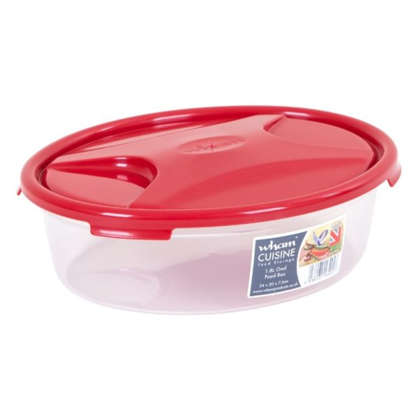 Wham 16405 Cuisine OvaL Food Box & Lid Clear/Chili Red 1.8L