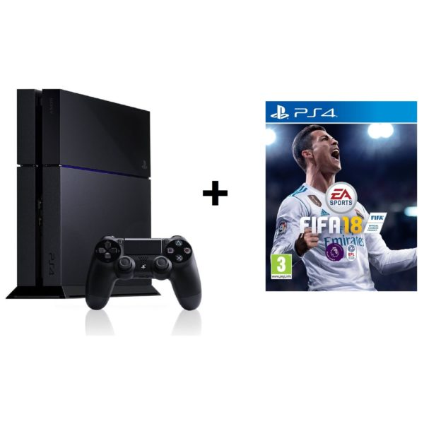 Sony PS4 Console 500GB Black + FIFA 18 Game