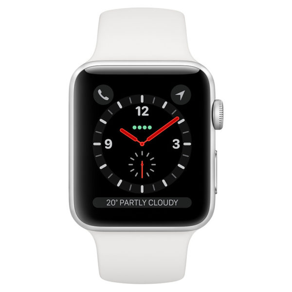 Apple Watch Series 3 GPS + Cellular 38mm Silver Aluminium Case with White Sport Band