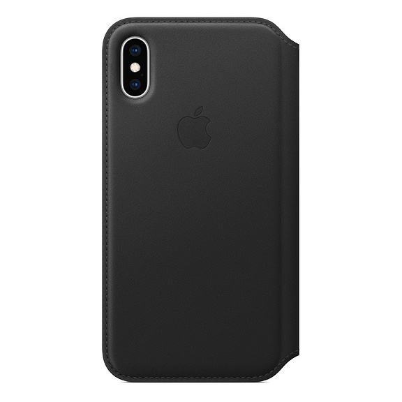 Apple Leather Folio Case Black For iPhone XS