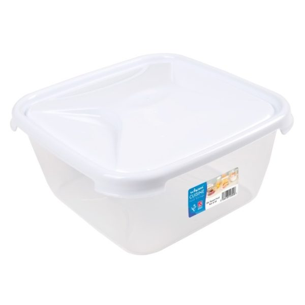 Wham 12394 Cuisine Square Food Box & Lid Clear/Ice White 2L