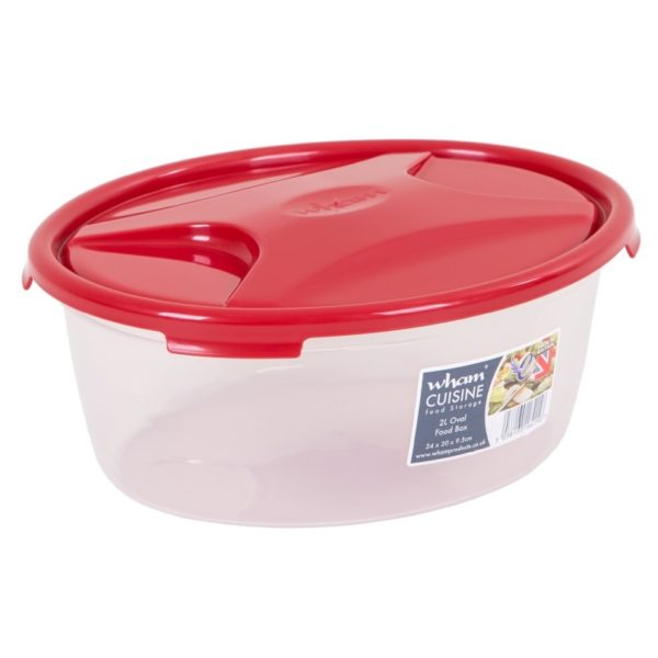 Wham 16415 Cuisine OvaL Food Box & Lid Clear/Chili Red 2L