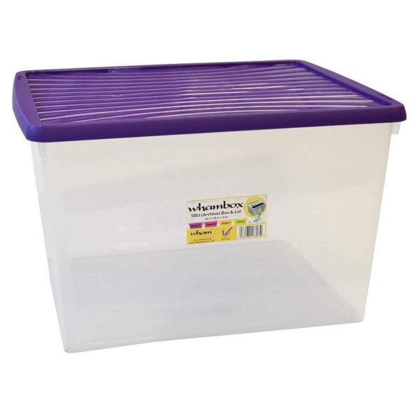 Wham Box & Lid Clear/Violet 50L